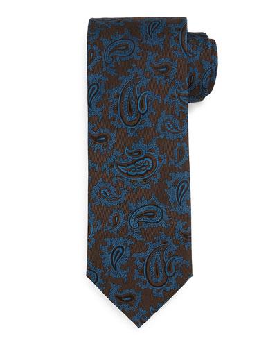 Woven Dark Paisley Tie, Green