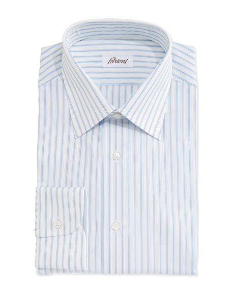 Brioni Satin-Stripe Woven Dress Shirt, White/Blue