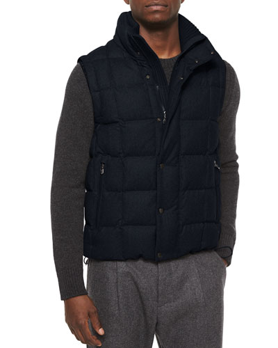 Tenay Box-Quilt Wool Vest, Navy