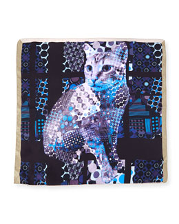 Silk Cat-Print Pocket Square, Blue Multi