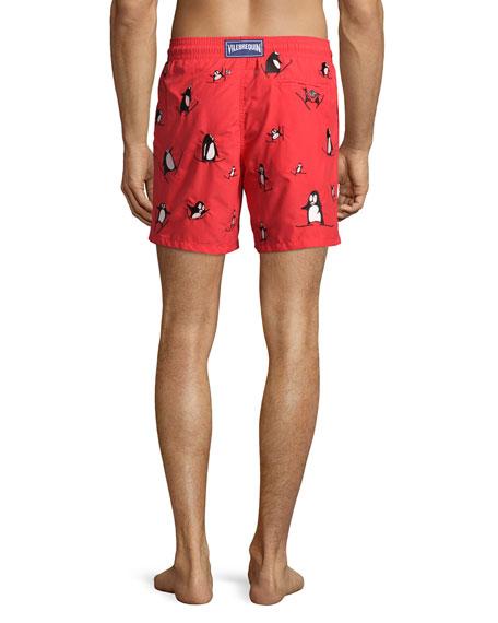 Mistral Skiing-Penguin Printed Swim Trunks, Red