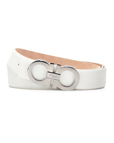 Double-Gancini Leather Belt, White