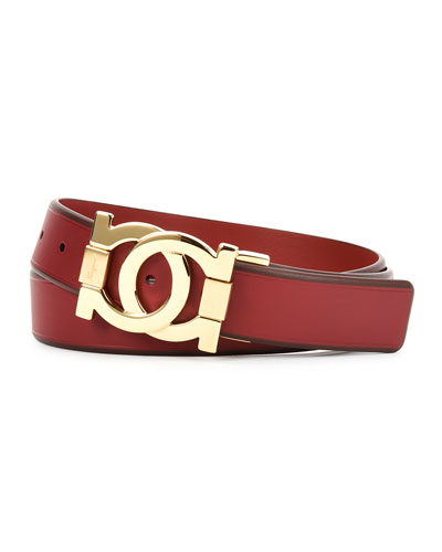 Linking Gancini-Buckle Belt, Red