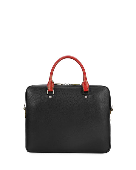 Revival Two-Tone Slim Briefcase, Black/Red