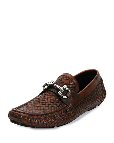 Parigi 6 Braided Calfskin Gancini Driver, Antiqued Brown