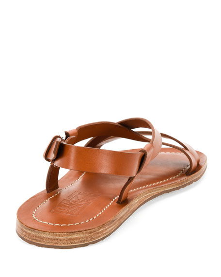 Crisscross-Strap Calfskin Sandal, Light Brown