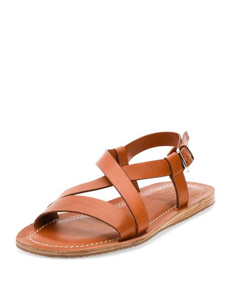 Crisscross-Strap Calfskin Sandal, Light Brown