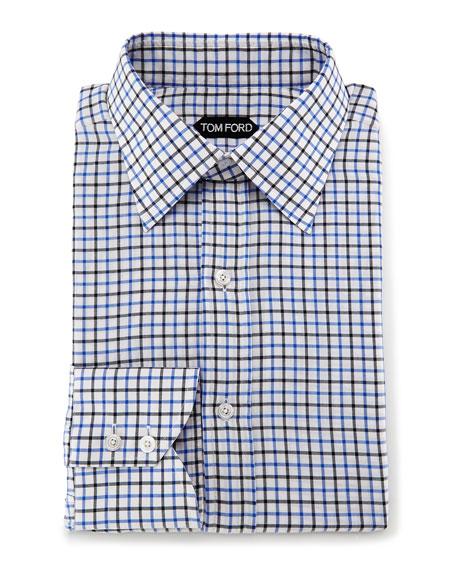 Tattersall Check Dress Shirt, White/Blue