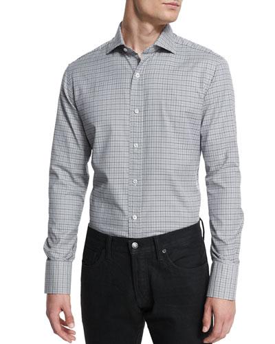 Mini-Tattersall Long-Sleeve Sport Shirt, Black/White
