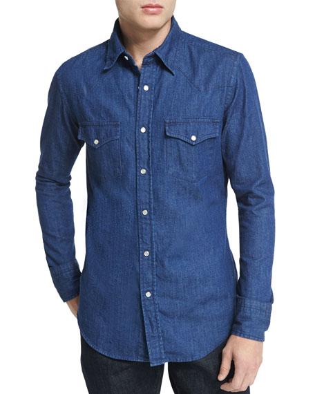 Western-Style Denim Shirt, Blue