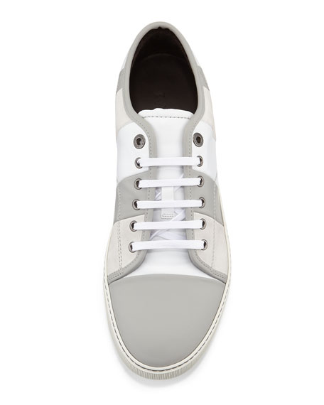 Men's Striped Leather Low-Top Sneaker, White/Gray
