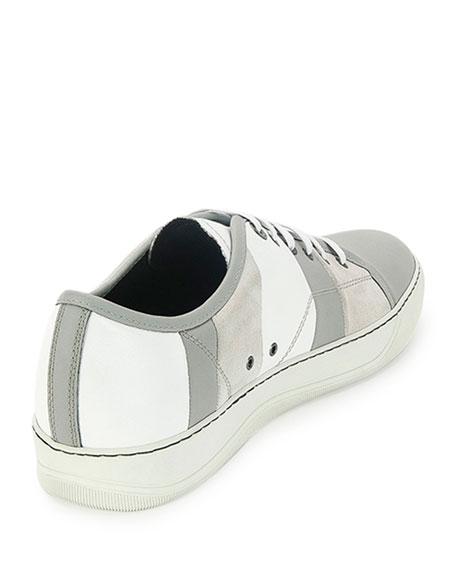 Men's Striped Leather Low-Top Sneaker, White/Gray