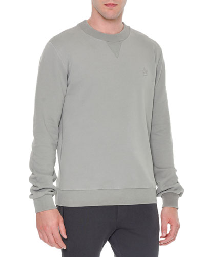 Crown-Logo Crewneck Sweatshirt, Light Gray