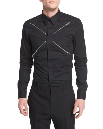 Zip-Collar Long-Sleeve Shirt, Black