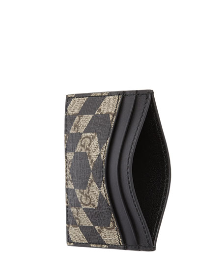 Canvas GG Caleido Card Case, Black/Beige