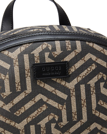 7e33016d8ef9 Gucci GG Caleido Canvas Backpack, Black/Brown