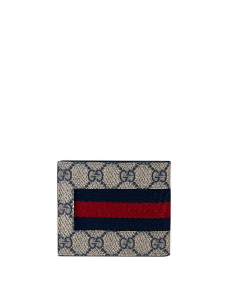 Web GG Supreme Canvas Wallet, Beige