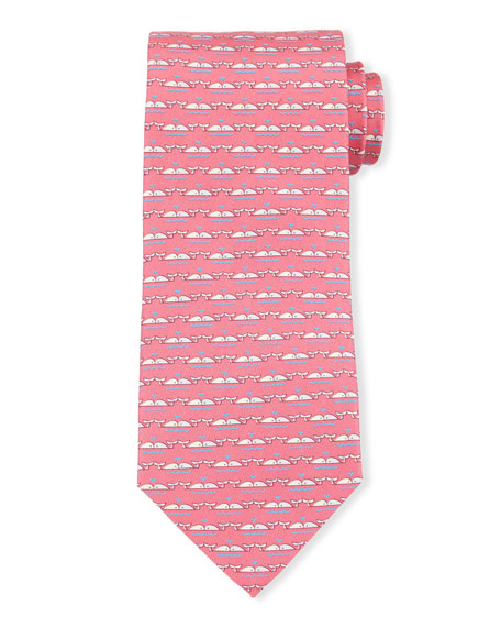 Whale-Print Silk Tie