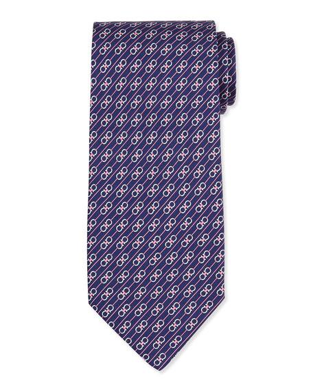 Interlocking Gancini-Print Silk Tie