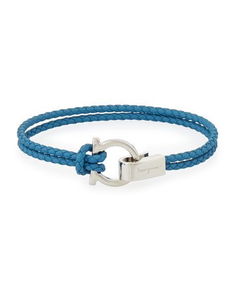 Men's Braided Leather Gancini Bracelet, Blue