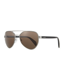 Irregular-Frame Aviator Sunglasses, Gunmetal