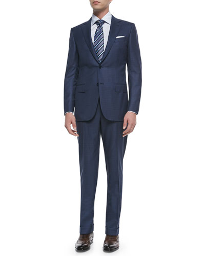 Trofeo Wool/Silk Box-Check Suit, Blue