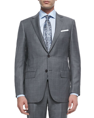 Trofeo Wool Windowpane Suit, Blue/Gray