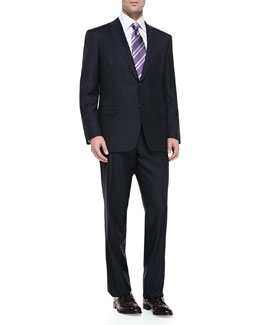 Pinstriped Suit, Navy/White