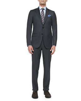 Stripe Wool Suit, Charcoal/Blue
