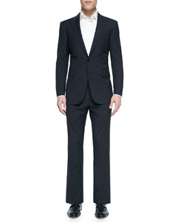 Anthony Textured Windowpane Suit, Blue