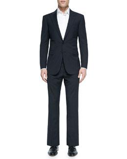 Anthony Textured Windowpane Suit, Blue