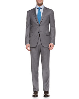 Wool Two-Button Suit, Gray Bicolor
