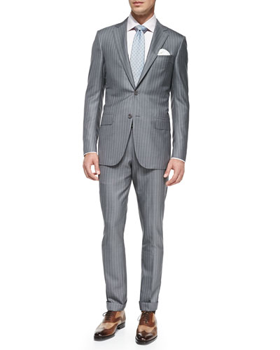 Trofeo 600 Stripe Suit, Light Gray/Pink