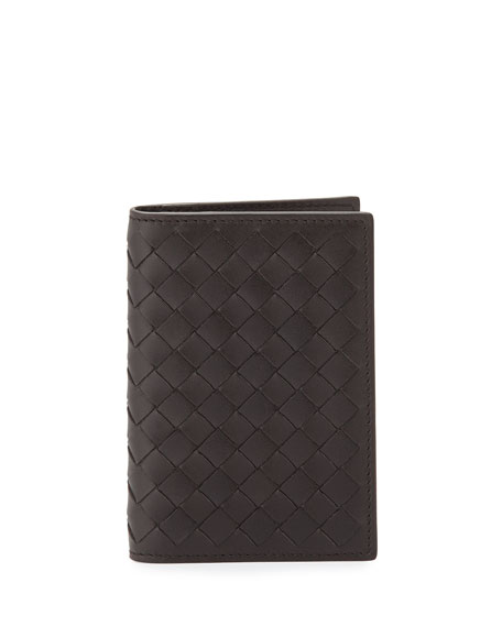 Bottega Veneta Fold-Over Leather Card Case, Brown