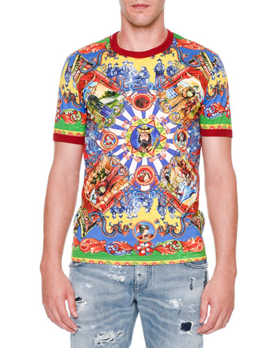 Asian-Print Short-Sleeve Tee, Multi