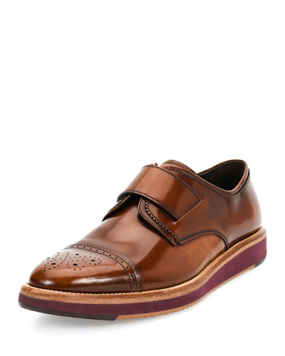 Perforated Monk Strap Leather Shoe, Brown