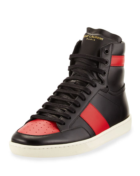 SAINT LAURENT Signature Court Classic Sl/10H High Top Sneakers, Black/Red
