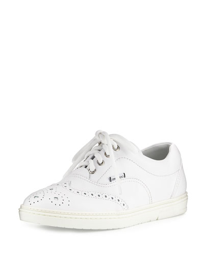 Brian Men's Wing-Tip Leather Low-Top Sneaker, White