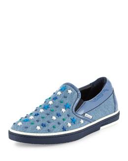 Grove Star-Detail Denim Slip-On Sneaker, Denim