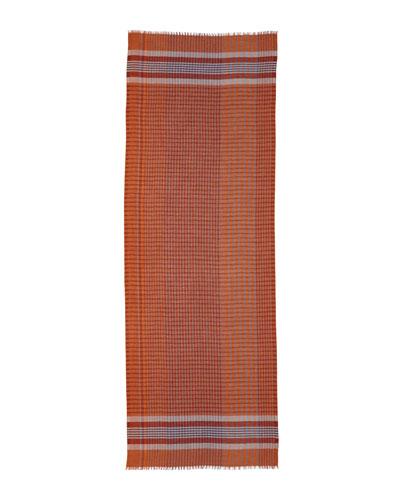 Plaid Cashmere-Silk Scarf, Blue/Orange