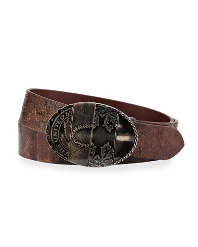 Distressed Leather Artisanal Belt