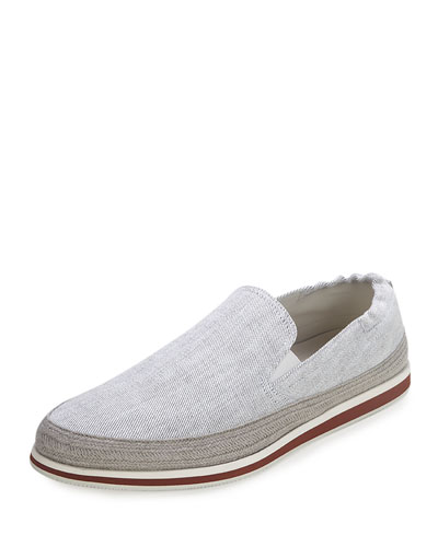 Denim Slip-On Espadrille, White