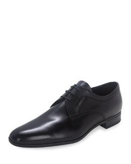 Leather Lace-Up Oxford Loafer, Black