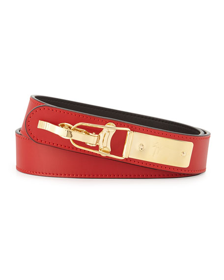 Leather Ski-Buckle Belt, Red
