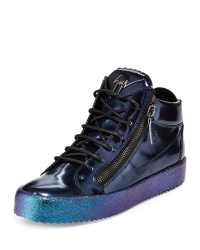 Mid-Top Leather Sneaker with Ombre Sole, Blue