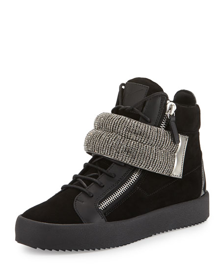 Leather Mid-Top Sneaker with Jeweled Strap, Black