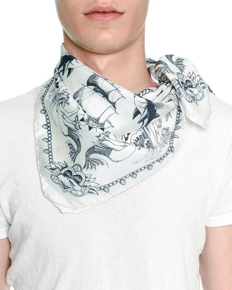 Tattoo-Print Silk Bandana Scarf