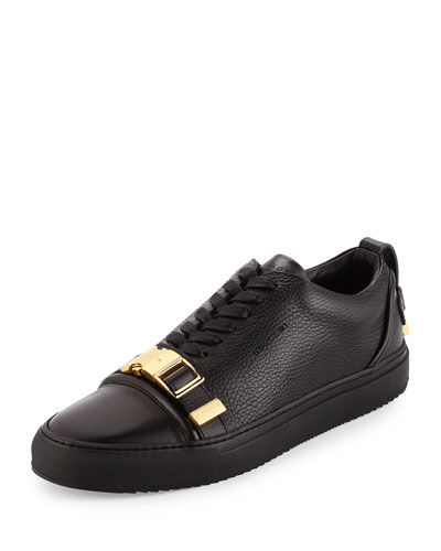 Men's 50mm Low-Top Sneaker with Strap, Black