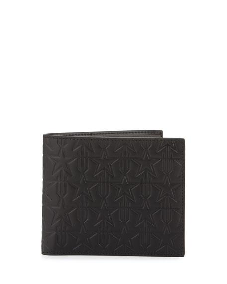 Star-Embossed Leather Bifold Wallet, Black