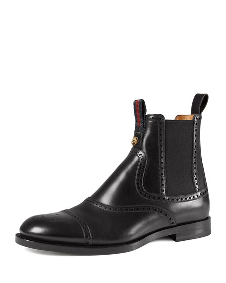 Leather Brogue Chelsea Boot, Black